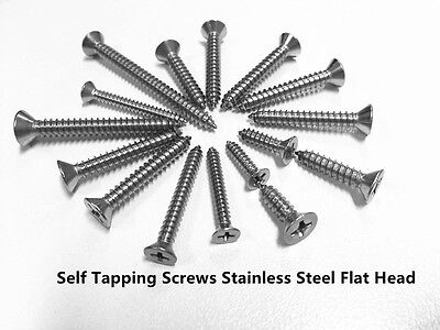 """Self Tapping Screw Flat Head 4gx3/8"""" 1/2"""" 5/8"""" 3/4"""" 1""""  Stainless Steel 304"""