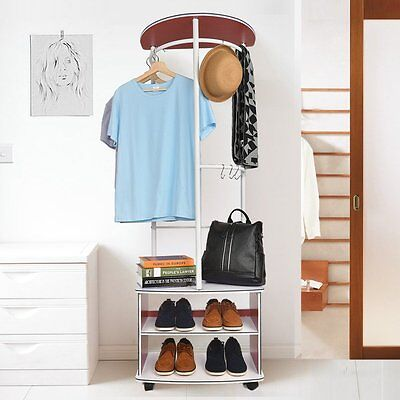 Wooden Coat Hat Bag Clothes cloth Shoe Rack Stand Shelf Garment Hanger w/ Hooks