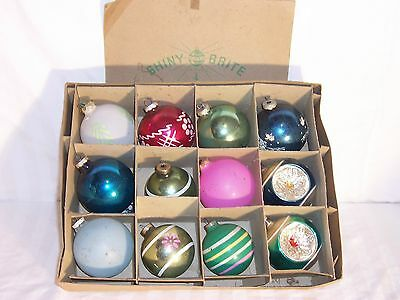 vintage premier shiny brite christmas ornament large glass unsilvered indent 12