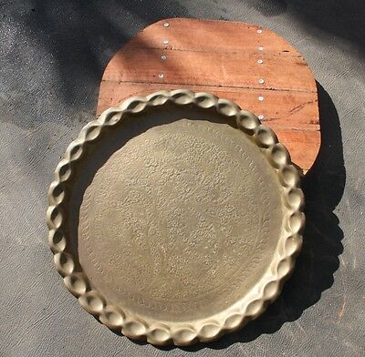Antique brass tray with hand made redgum base
