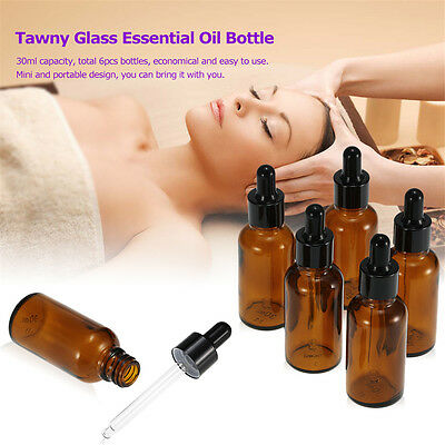 10/30/100ml Glass Amber Bottles  Essential Oil Eye Pipette Dropper Aromatherapy