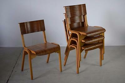 Vintage Industrial Teak Tecta Stacking Cafe Bar Dining Chairs (25 Available)