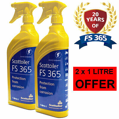 2 x 1L Scottoiler FS365 Anti Corrosion Spray Motorcycle Protects Against Salt
