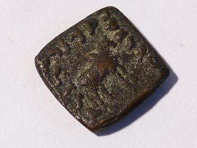 Antique Square INDO - GREEK Bronze Coin Elephant & Horse Animals #T2