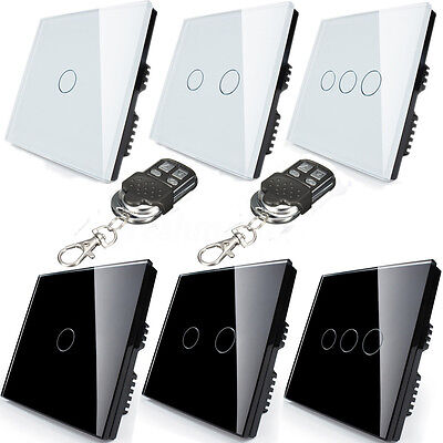1/2 Way 1/2/3 Gang Crystal Glass Touch Light Wall Switch Panel+Remote Controller