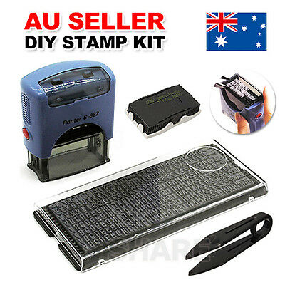 Personalised DIY Self Inking Rubber Stamps Kit Custom Business Name Address Suit