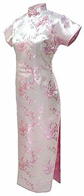 7Fairy Women's Vtg Pink Floral Long Chinese Evening Dress Cheongsam Size 4 US