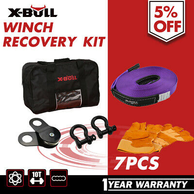 X-BULL 7PCS Recovery Kit Snatch Strap Bow Shackles Gloves with Bag 4WD 4X4