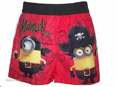 bnwt boys despicable me minions red  swimming swim shorts trunks 3,4,6,8 yrs