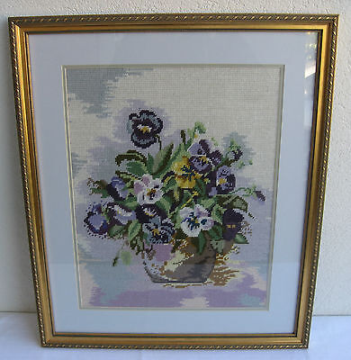 Beautiful Hand Stitched Tapestry Art Work Bowl of Pansies Flowers Newly Framed