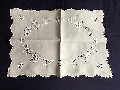 Superb Vintage Madeira Work Hand Embroidered White Linen Oblong Tray Cloth