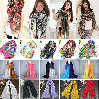 Womens Chiffon Scarf Neck Scarves Wrap Long Plain Ladies Soft Stole Shawl Cape