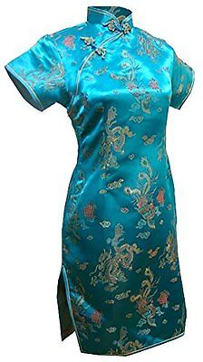 7Fairy Women's Vtg Turquoise Dragon Mini Chinese Prom Dress Cheongsam Size 16 US