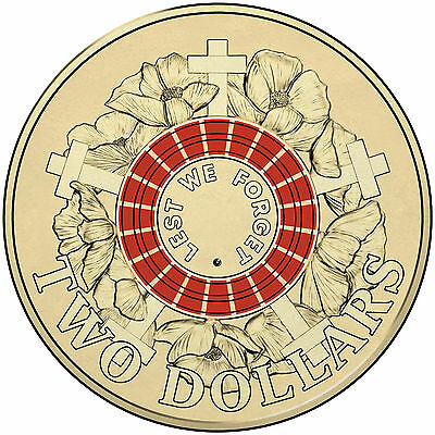 "2015 RED $2 Two Dollar  Mint UNC ANZAC Day "" Lest We Forget """