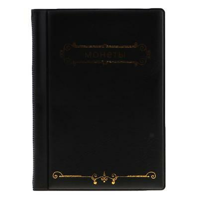 120 Coin Collection Holders Money Penny Album Case Book Pockets 27.5mm Black