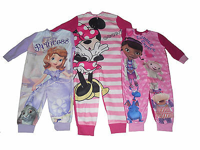 Girls Pyjamas All Inn One Jumpsuit Disney Minnie Mouse Sofia Doc Mcstuffins