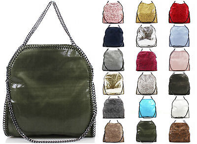 New Ladies Colours In Large Stella Style Chain Trim Women Tote Shoulder Bags