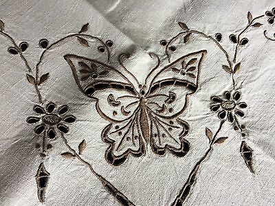 Superb Vintage Madeira Work Hand Embroidered Beige Linen Small Square Tablecloth