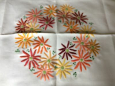 Superb Vintage Heavily Hand Embroidered Cream Irish Linen Tablecloth Gorgeous