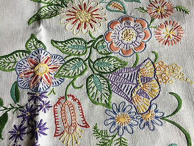 Pretty Vintage Floral Hand Embroidered Small Square Cream Irish Linen Tablecloth