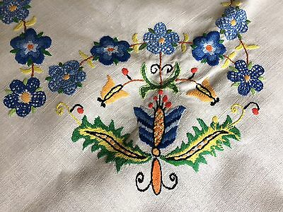 Vintage Jacobean Floral Hand Embroidered Oblong White Irish Linen Tablecloth