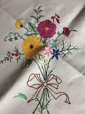 Lovely Vintage Floral Hand Embroidered Small Square White Irish Linen Tablecloth