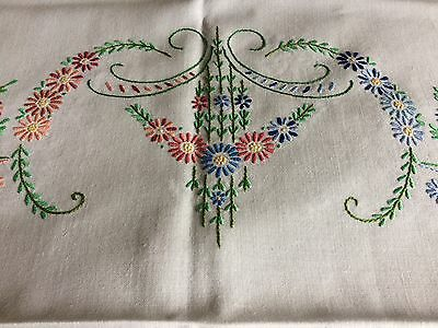 Pretty Vintage Floral Hand Embroidered Large White Cotton / Rayon Mix Tablecloth