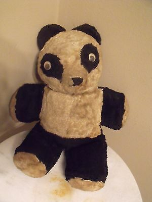 "Vintage Stuffed 2Tone Black & White Teddy Panda Bear Google/Googly Eyes 12"" 50's"