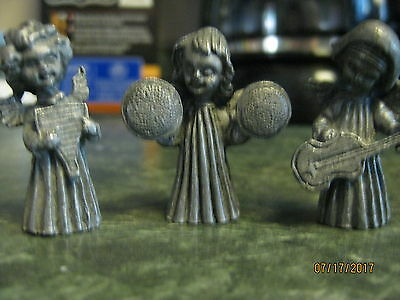 Lot of 3 vintage pewter musician angels