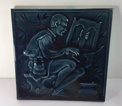 "Antique MINTONS CHINA WORKS 8"" Teal Blue Pottery Pictorial Tile w/ Musician"