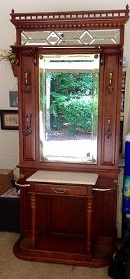 Victorian Style Hall Tree Marble Top Beveled Mirrors Umbrella Stands