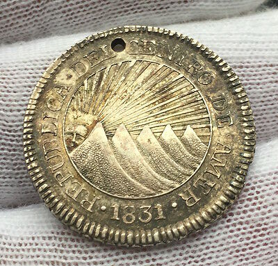 Central American Republic 2 Reales 1831 T.f. - Holed