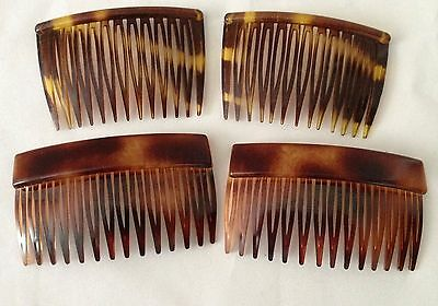 Two Sets of Vintage Plastic Tortoiseshell Hair Combs