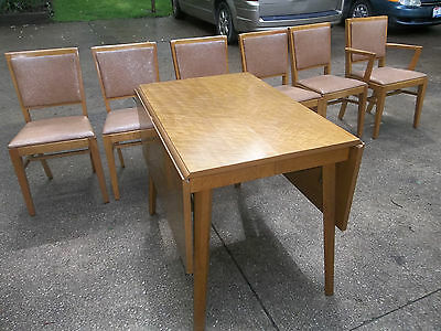 Birds Eye Maple dining room set Buffet Drop Leaf Table Chairs China Cabinet 60s