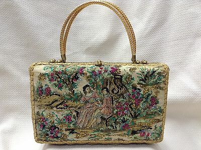 Vintage Midas Of Miami Gold Wicker Beaded Victorian Tapestry Handbag