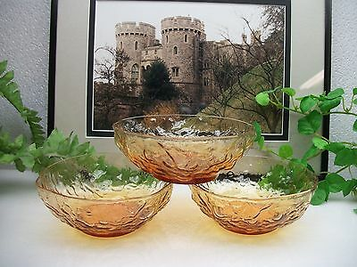 "3  Seneca Glass  DRIFTWOOD CASUAL  Amber 5""  Cereal Fruit Berry or Dessert Bowls"