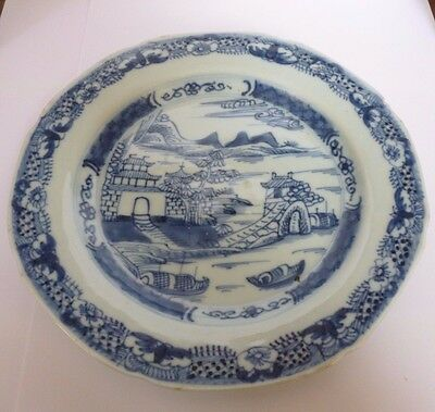 Antique Chinese Export Blue & White Landscape Scene Plate