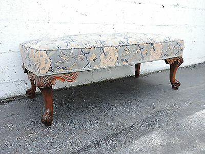 Early 1900s French Carved Solid Walnut Upholstered Footstool Ottoman 8356