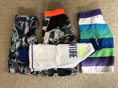 Lot Of 4 Swim Trunks / Shorts & Rash Guard, Size 8 Small