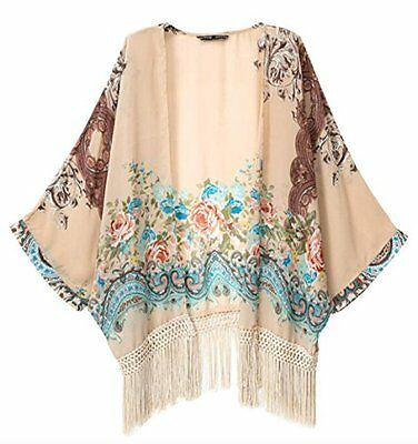 JAKY Women Bohemia Tassels Sheer Chiffon Kimono Cardigan Blouse Top Beach Cover