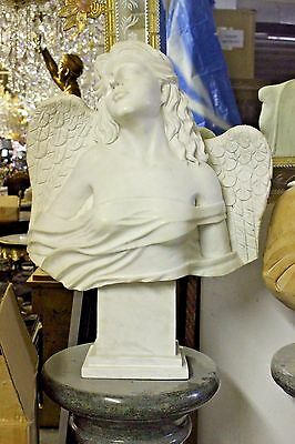 "White Italian Marble Bust - Angle Marble Bust for Outdoor Indoor - 28"" Tall"
