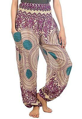 Lofbaz Women's Rose Flower 2 Smocked Waist Harem Pants One Size Teal Green, New