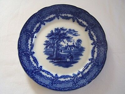 Antique Flow Blue Plate Ridgways WFS & Co Scenes from the Old Curiosity Shop