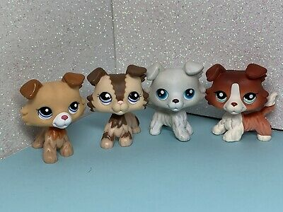 4 X Littlest Pet Shop LPS Collie Dog #1542 #2210 #2452 #363 Collie Dogs