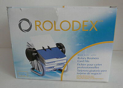 """NEW Rolodex Open Rotary Business Card File Blue with 200 2 1/4"""" x 4"""" Cards"""