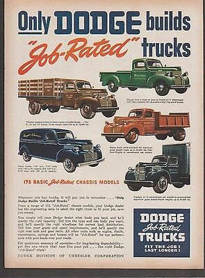 Original 1947 Dodge Job Related Trucks Vintage Art Print Ad