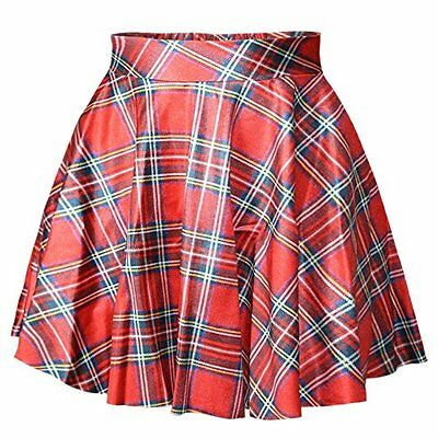 RAISEVERN Women's Red Plaid Printed Casual Flared Pleated Summer Skirts, New