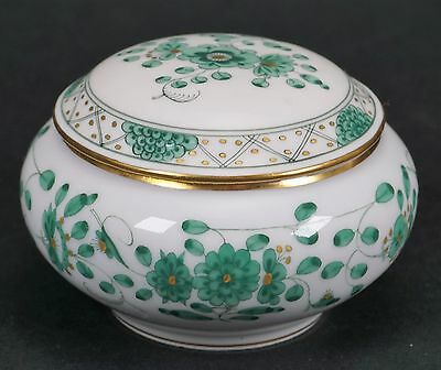 Meissen Porcelain Green and Gold Porcelain Box - Second Quality