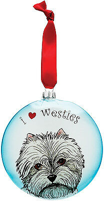 "I Love Westies Christmas Ornament West Highland White Terrier Dog 5"" High Blue"