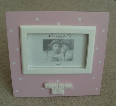 New Baby Girl Photograph Frame ~ Pink /White Spot Photo Holder